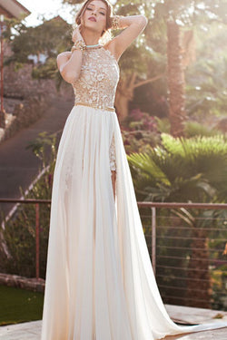 New Arrival Sexy Lace Backless High Neckline Halte Wedding Party Dress SD297