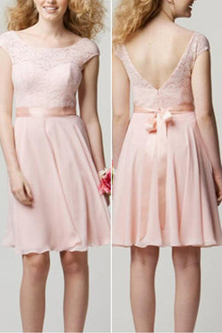 Blush Pink Lace Knee Length Cap Sleeve Cheap Popular Short Wedding Bridesmaid Dresses,SVD483