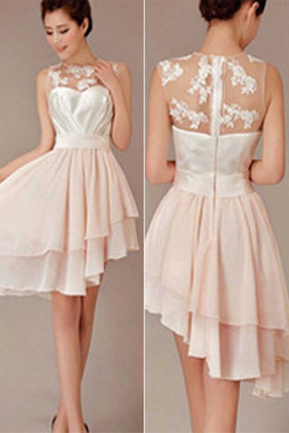 Blush Pink Cheap Short Pretty Junior High-Low Knee-Length Wedding Bridesmaid Dresses,SVD485