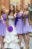 Lavender Short Bridesmaid Dress,Cheap One Shoulder Bridesmaid Dresses,SVD497