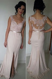 Blush Pink Long Bridesmaid Dresses,Cheap Bridesmaid Dress,Side Slit Prom Dress,SVD602