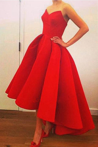 A-Line Sweetheart Strapless Prom Dress with Ruffles,High Low Red Satin Prom Dresses,SD365