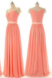 Beading Cap Sleeve Sweet Heart Chiffon Cheap Long Bridesmaid Dresses, Simple Prom Dress