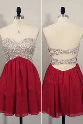 Red Short Homecoming Dresses,Open Back Prom Dresses,Party Dress For Girls,SVD600