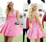 Hot Pink Lace Homecoming dress,Short prom Dresses,Party dress for girls,SVD592