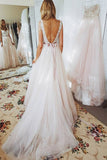 Lace Bodice Beach Open Back Wedding Dresses A Line Dresses with Sash -simidress