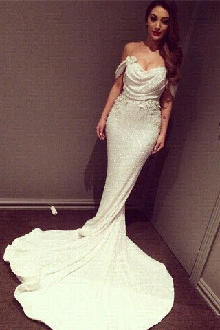 White Off Shoulder Glittering Court Train Mermaid Prom Dress with Sequins Applique,SVD345
