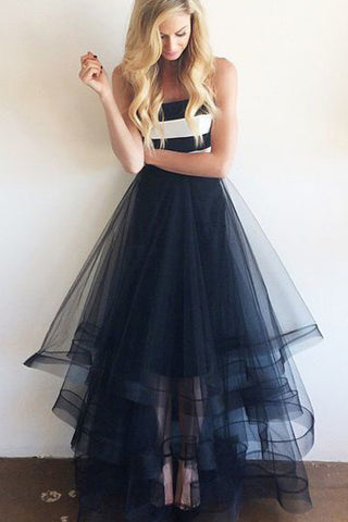 Cheap Tulle Navy Blue and White Stripe Simple Long Strapless Prom Dresses,M67