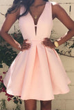 Fabulous Pink Homecoming Dresses,Satin Short Prom Dresses,Graduation Dresses,SH75