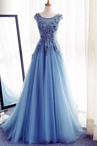 A-Line Tulle Sleeveless Appliques Long Prom Dresses,Cheap Evening Dresses, M38