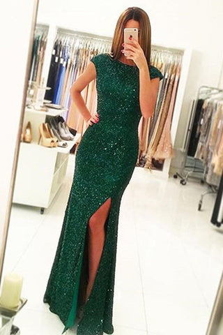 Green Open Back Prom Dresses,Cap Sleeves Split-Front Gown with Sequins