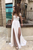 Sexy White Prom Dresses,Chiffon Evening Dress,Princess Party Dress,Beach Wedding Dresses,M63