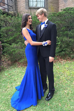 Royal Blue Mermaid Prom Dress  Open Back Sweep Train Prom Dress with Beading,SVD317