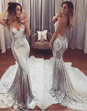 Mermaid Prom Dresses,Backless Prom Dress,Silver Sequined Prom Dresses,Evening Dress,M75