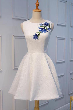 White Lace Cheap Short Prom Dresses Homecoming Dresses with Applique, SH393