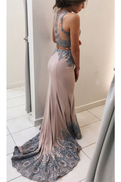 Appliqued Mermaid Sweep Train Prom Dresses, Two Pieces Lace Prom Dresses