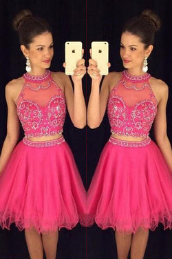 Hot Pink Halter Homecoming Dresses,Two Pieces Beaded Short Prom Dresses,M55