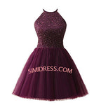 Young Girls Halter Sweet Heart Chiffon Short Homecoming Dresses,Graduation Dress, SH8