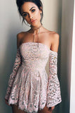 Off Shoulder Long Sleeves Pink Short prom dresses,Homecoming dresses,SH20