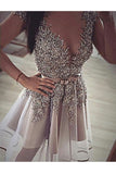 Silver Sexy Graduation Dresses,High Neck Tulle Lace Short Homecoming Dress