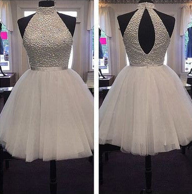 7fd93be874 ... Halter White Sexy Open Back Homecoming Prom Dresses