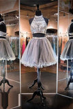 Tulle Beaded Homecoming Dresses,Short Prom Dress,Graduation Dresses