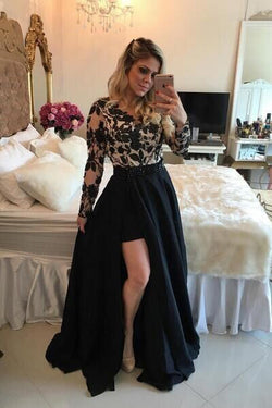 Long Sleeves Prom Dresses, Short Prom Dresses, Barbara Melo Lace Applique Prom Dresses, SI02