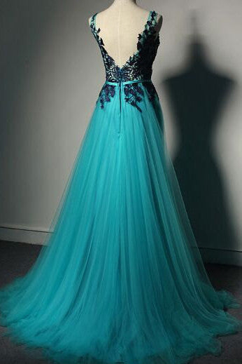 Blue Prom Dresses,Lace Prom Dresses,Black Evening Gowns,Tulle Formal Gown,SIM608