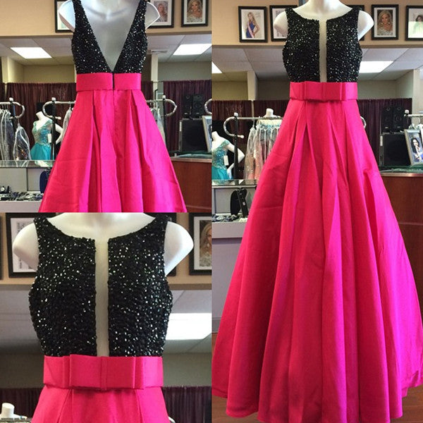 Black Sequins Beaded Prom Dresses,Bow Sashes Satin Long Prom Dresses,Evening Gowns,SIM625