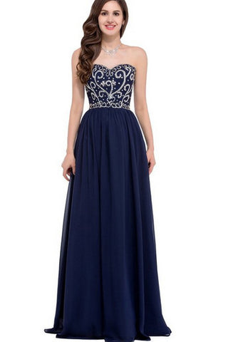 Navy Blue A line Sweetheart Prom Dresses Long, Chiffon Gowns Prom ...