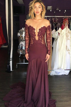 Lace Prom Dresses,Long Sleeve Prom Dresses,Fashion Prom Dresses,Sexy Party Dresses,SIM442