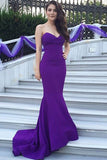 Mermaid Sweetheart Purple Trumpet Floor-length Satin Prom Dresses,Simple Prom Dresses, M12