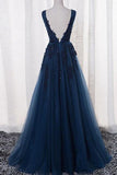 Open Back Lace Prom Dresses,Navy Blue Long Prom Dress,Formal Evening Dress,SIM620