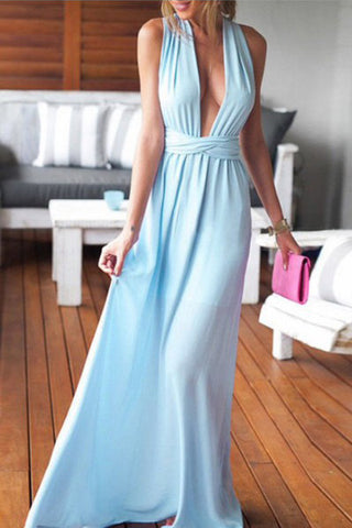 A Line Blue Prom Dresses,Party Dresses,V Neck Prom Dress,Chiffon Prom Dresses, M13