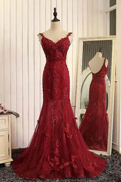 Red Lace Organza V-Neck Open Back Long Prom Dresses With Appliques,Mermaid Prom Dresses,M39