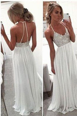 simidress White A-Line Long Chiffon Prom Dresses,Spaghetti Strap Open Back Prom Gowns, M46