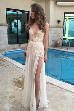 simidress Sexy V Neck A Line Real Made Prom Dresses with Appliques,Long Evening Dresses, M47