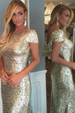 Cap Sleeves Long Prom Dress with Train,Luxurious Gold Sequins,Long Prom Dresses, M8