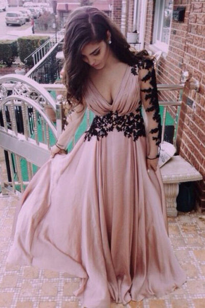 Deep V Neck Dusty Pink Prom Dresses,Formal Dresses, Evening Dresses,Dresses for Prom, M9