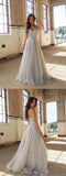 A-Line Spaghetti Straps Floor-Length Long Prom Dresses with Beading,M62