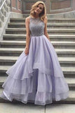 Tulle Lace Lavender Round Neck A-Line Long Prom Dresses,Party Dresses