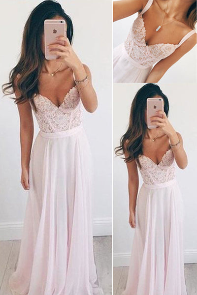 simidress Pink Chiffon Long Prom Dresses, Elegant Prom Gowns,Homecoming Dresses