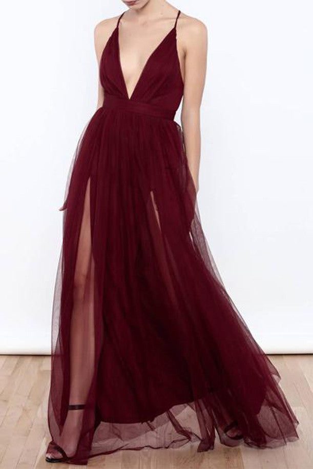 Sexy Burgundy Tulle Deep V Neck  High Slit Prom Dresses,Evening Dresses