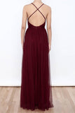 Sexy Burgundy Tulle Deep V Neck  High Slit Prom Dresses,Evening Dresses,M58