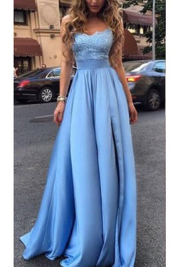 Long Prom Dresses,Fashion Ice Blue Sexy Slit Lace Prom Dresses,Prom Gowns for Girls