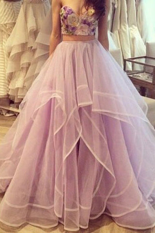 Light Lavender Prom Dresses Long,Tulle Two Piece Prom Gowns Embellished With Embroidery,M24