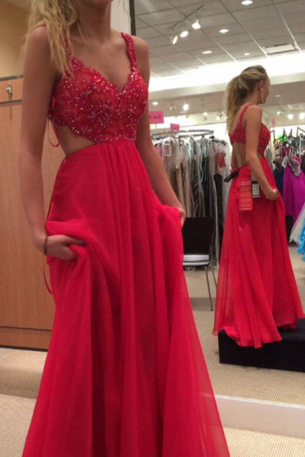 Red Lace Spaghetti Strap Chiffon Backless Prom Dresses Red