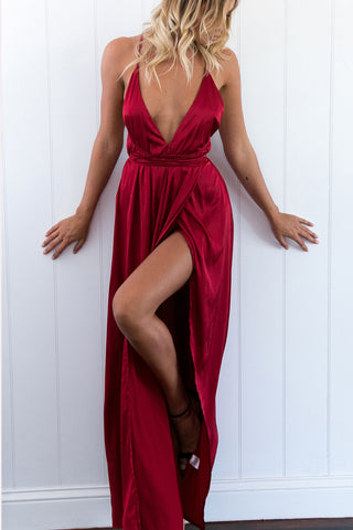 Formal Open Back Prom Dressred V Neck Prom Gownssexy Slit Prom