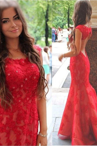 Red Open Back Prom Dresses,Mermaid Prom Dresses with Lace appliques ...