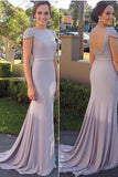 Open Back Cap Sleeves Prom Dress with Sweep Train,Mermaid Evening Dresses,SIM626